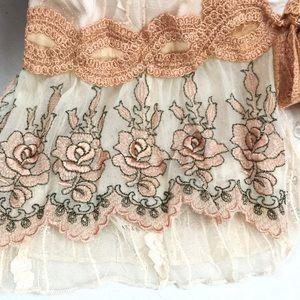 """Hazel Sweaters - """"Hazel"""" vntg look open cardi w/ribbon and lace- M"""